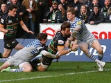 Northampton's Ben Foden dives across to score a try against Saracens on October 26, 2013