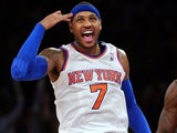 New York Knicks forward Carmelo Anthony celebrates making a three-pointer against the Atlanta Hawks on January 27, 2013