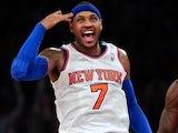 New York Knicks forward Carmelo Anthony celebrates making a three-pointer against the Atlanta Hawks on January 27, 2013
