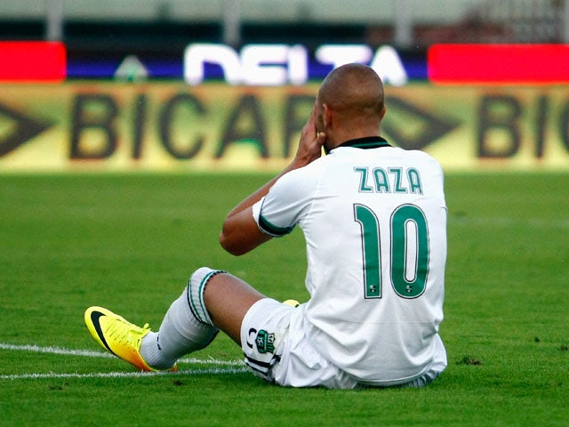 Simone Zaza of Sassuolo shows his dejection during the Serie A match between Calcio Catania and US Sassuolo Calcio at Stadio Angelo Massimino on October 27, 2013