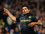 Sergio Aguero of Manchester City celebrates scoring their first goal during the Barclays Premier League match between Chelsea and Manchester City at Stamford Bridge on October 27, 2013