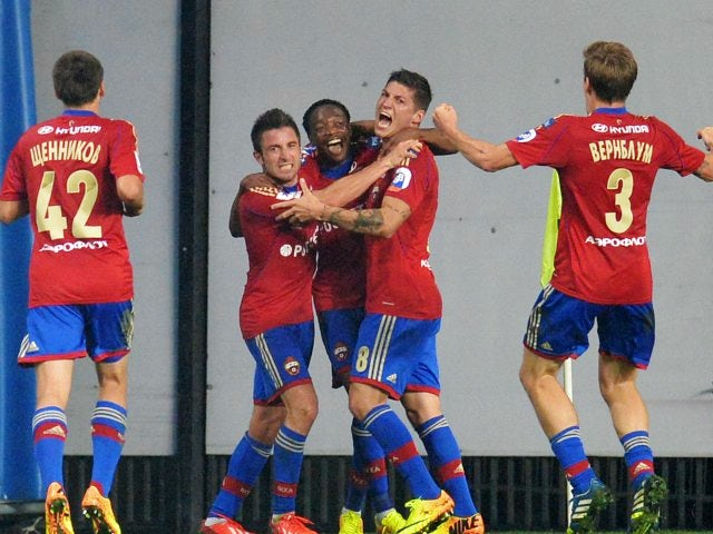 CSKA Moscow players celebrate scoring a goal against FC Amkar on August 30, 2013
