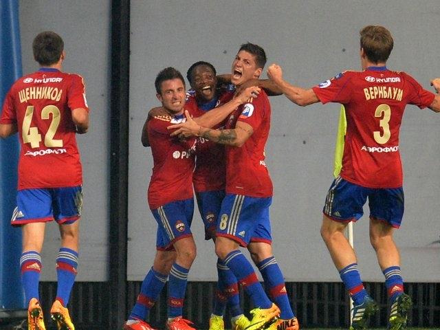 CSKA Moscow players celebrate scoring a goal against FC Amkar on August 30, 2013