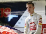 Daniil Kvyat of Russia prepares to drive the Toro Rosso F1 car during the young drivers test at Silverstone Circuit on July 19, 2013
