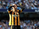 Hull City striker Danny Graham holds his head in his hands during the Premier League match at Manchester City on August 31, 2013