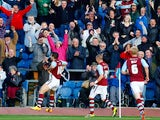Burnley's Danny Ings celebrates after scoring the opening goal against QPR on October 26, 2013