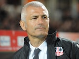 Ajaccio's Italian coach Fabrizio Ravanelli looks on during the French L1 football match Guingamp vs Ajaccio on October 26, 2013