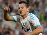 Marseille's French midfielder Florian Thauvin celebrates after scoring a goal during the French L1 football match between Marseille and Reims at the Velodrome stadium in Marseille on October 26, 2013