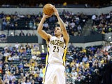 Gerald Green #25 of the Indiana Pacers shoots the ball during the game against the Philadelphia 76ers at Bankers Life Fieldhouse on April 17, 2013