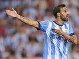 Malaga's Jesus Gamez in action against Barcelona on August 25, 2013