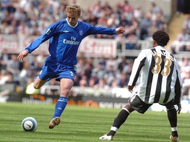 Former Chelsea midfielder Jiri Jarosik shoots for goal against Newcastle United on May 15, 2005.