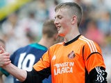 Sunderland goalkeeper Jordan Pickford at the end of the friendly match against Groningen on July 22, 2012