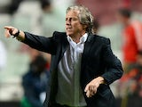 Benfica's coach Jorge Jesus gestures during the UEFA Champions League group C football match SL Benfica vs Olympiacos FC at Luz Stadium in Lisbon on October 23, 2013