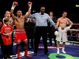 Kell Brook celebrates his victory over Vyacheslav Senchenko during their Final Eliminator for the IBF World Welterweight Championship bout at Motorpoint Arena on October 26, 2013