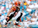Leon Hall of the Cincinnati Bengals stays loose between plays against the Jacksonville Jaguars during play at EverBank Field on October 9, 2011