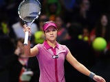 Li Na celebrates her win over Victoria Azarenka during their WTA Championships match on October 25, 2013