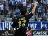 Reims' Mads Albaek celebrates after scoring his team's second goal against Marseille on October 26, 2013