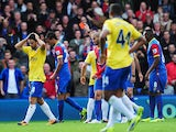 Arsenal's Mikel Arteta is sent off during the second half in the match against Crystal Palace on October 26, 2013