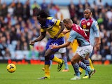 Nathan Baker of Aston Villa in action with Romelu Lukaku of Everton during the Barclays Premier League match between Aston Villa and Everton on October 26, 2013