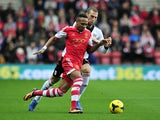 Southampton's English defender Nathaniel Clyne vies with Fulham's Swiss midfielder Pajtim Kasami during the English Premier League football match on October 26, 2013