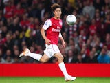 Park Chu-Young of Arsenal in action during the Carling Cup Third Round match between Arsenal and Shrewsbury Town at Emirates Stadium on September 20, 2011