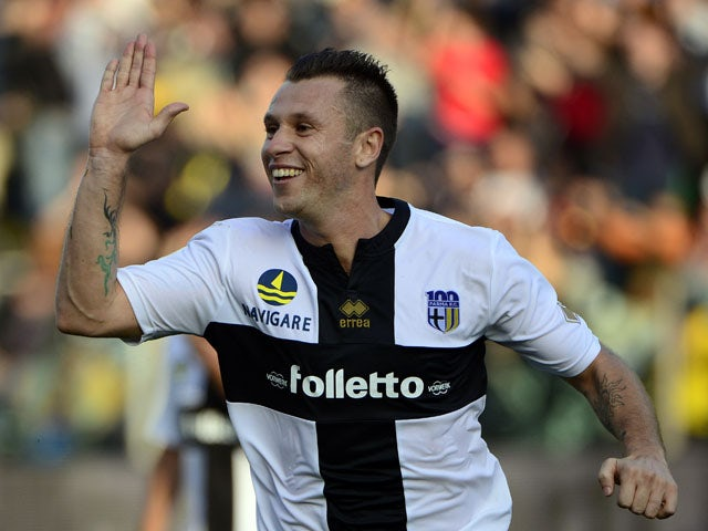 Parma FC 's french forward Antonio Cassano celebrates after scoring during the Italian Serie A football match Parma vs AC Milan, on October 27, 2013