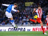 Antoine Griezmann of Real Sociedad de Futbol scores his team's second goal during the La Liga match between Real Sociedad de Futbol and UD Almeria at Estadio Anoeta on October 27, 2013