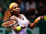 Serena Williams in action against Jelena Jankovic during their WTA Championships match on October 26, 2013
