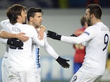 Manchester City's Sergio Aguero, Alvaro Negredo and David Silva celebrate scoring against CSKA Moscow during their UEFA Champions League group D football match on October 23, 2013