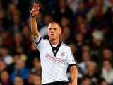 Fulham's Steve Sidwell celebrates after scoring his team's second goal against Crystal Palace on October 21, 2013