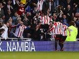Sunderland's Steven Fletcher celebrate scoring against Newcastle United on October 27, 2013