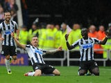 Newcastle player Mathieu Debuchy celebrates his goal uring the Barclays Premier League match between Sunderland and Newcastle United at Stadium of Light on October 27, 2013