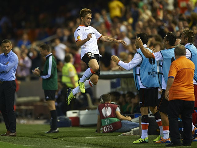 Fede Cartabia of Valencia CF celebrates after scoring the second goal during the UEFA Europa League Group A match between Valencia CF and SFC St Gallen at Estadi de Mestalla on October 24, 2013