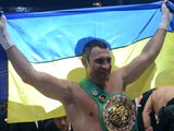 Ukraine's two-time World Heavyweight champion Vitali Klitschko celebrates after he successfully defended his WBC heavyweight title against Germany's Manuel Charr in Moscow early on September 9, 2012