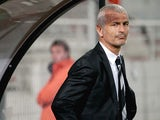 Ajaccio's Italian head coach Fabrizio Ravanelli looks on during the French L1 football match Ajaccio (ACA) against Valenciennes (VAFC) on November 2, 2013