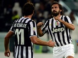 Juventus' Andrea Pirlo celebrates after scoring his team's second goal against Catania on October 30, 2013