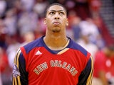 Anthony Davis #23 of the New Orleans Pelicans looks on prior to a preseason NBA game against the New Orleans Pelicans on October 5, 2013
