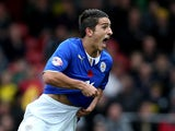 Leicester's celebrates moments after scoring his team's second goal against Watford on November 2, 2013