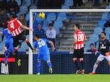 Aymeric Laporte of Athletic Bilbao scores his team's opening goal during the La Liga match against Getafe CF at Coliseum Alfonso Perez stadium on October 28, 2013