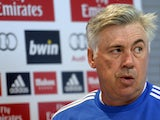 Real Madrid's Italian coach Carlo Ancelotti looks on during a press conference at Valdebebas training ground in Madrid on October 29, 2013