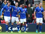 Leicester's Chris Wood is congratulated by teammates after scoring the opening goal against Watford on November 2, 2013