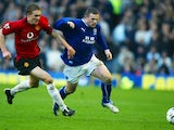 Involved in an early battle with his future teammate Wayne Rooney, then of Everton in 2004.