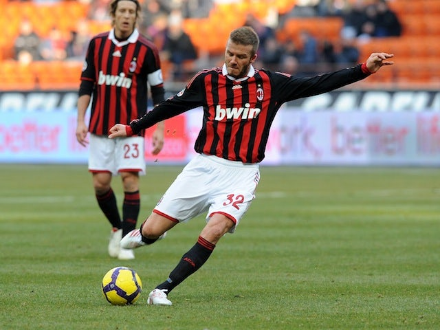 David Beckham takes a free kick during his time with AC Milan on January 31, 2010