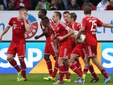 Bayern's Franck Ribery celebrates with teammates after scoring the equaliser against Hoffenheim on November 2, 2013