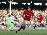 Manchester United's Dutch striker Robin van Persie celebrates scoring his team's second goal during the English Premier League football match between Fulham and Manchester United at Craven Cottage in London on November 2, 2013