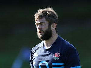 Geoff Parling looks on during the England training session held at Pennyhill Park on October 29, 2013