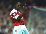 Ian Wright of Arsenal celebrates scoring a goal against Coventry City on November 7, 1992