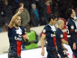 PSG's Jeremy Menez celebrates after scoring his team's second goal against Lorient on November 1, 2013
