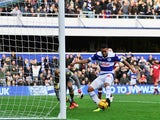 QPR's Jermaine Jenas scores the opening goal against Derby on November 2, 2013