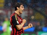AC Milan's Kaka celebrates after scoring the opening goal against Lazio on October 30, 2013